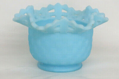 Fenton Basketweave Blue Satin Glass Open Lace Edge Bowl Vase 1368B