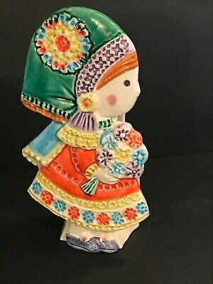 SIGNED ITALY POTTERY 1504 STILL BANK  Bitossi, Rosenthal  ? FLOWER GIRL VINTAGE
