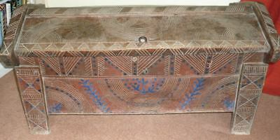 Large Antique Transylvanian wooden blanket dowry chest decorated