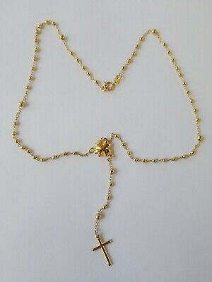 Vintage Rare Small 12 inchs 10k Gold Plated Rosary, Rosario,5.2g