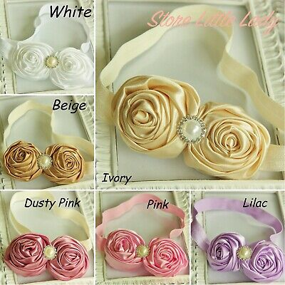 Large Satin Rose Baby Girl Headband Pearl Rhinestone Flower Wedding Christening
