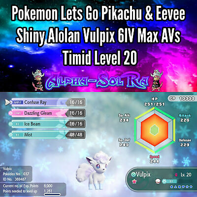 Pokemon Lets Go Pikachu & Eevee Shiny Alolan Vulpix 6IV Max AVs Timid Level 20