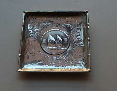 Chinese $1 Dollar Sailboat Solid Silver Coin Dish With Mark