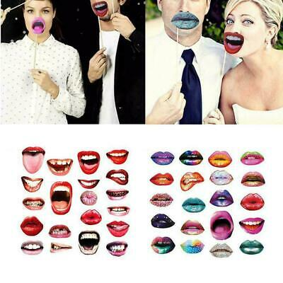 20x Funny Lips Wedding Selfie Party Photo Booth Props Signs Birthday Decor D TIJ