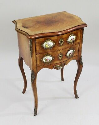 Small French Walnut Serpentine Commode with Sevres Plaques c.1880