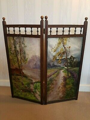 Antique Victorian Folding Fire Guard with Oil Paintings Cast Iron Fireplace etc