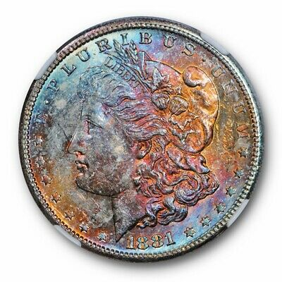 1881-S Morgan Dollar S$1 NGC MS 63 Monster Toned Beauty Purple Blue Red + CAC...