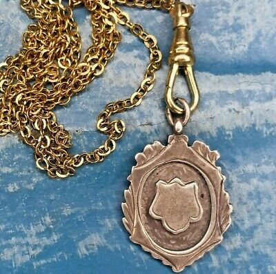 Antique Sterling Silver Fob Necklace Hallmarks gold plate chatelaine watch chain