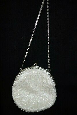 1970's Evening Bag- 2 the Arts Brand-Beaded White Satin-Shoulder-VG- CLASSY-SALE