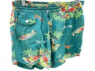 VTG 50S RAYON Print HAWAIIAN Sailfish Shorts SWIM TRUNKS LA Mart MENS SIZE 34-36