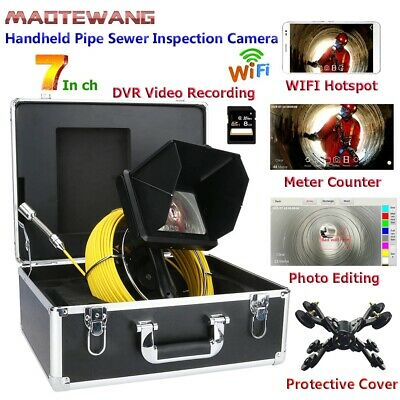"Handheld Industrial Pipe Sewer Inspection Video Camera 7""20M DVR Wifi Wireless"