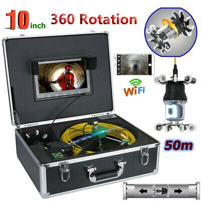 """50M WIFI 10""""LCD Sewer Pipe Pipeline Drain Inspection System 360 Rotation Camera"""