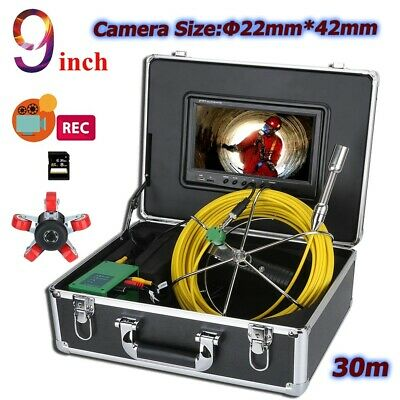 "30M Sewer Pipe Pipeline Drain Inspection 9"" LCD Video Recording Camera 8GB DVR"
