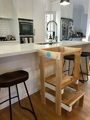 Learning tower - Double-sized wooden kitchen learning tower. Australian-made