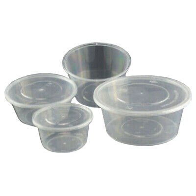 8/10/12/16oz Clear Plastic Round Tubs with Lids - Microwave Food Safe Takeaway