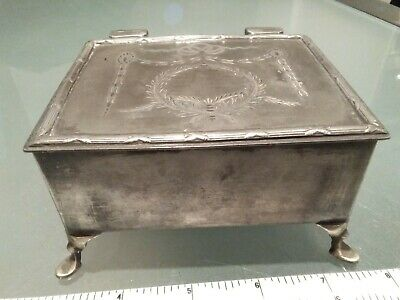 """Antique Silver Plated epbm Box Jewellery Casket on legs etched swags engraved 5"""""""