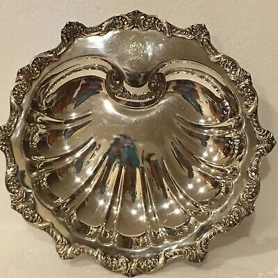 Vintage Old English By Poole 5034 Silverplate Footed Sea Shell Serving Bowl Dish