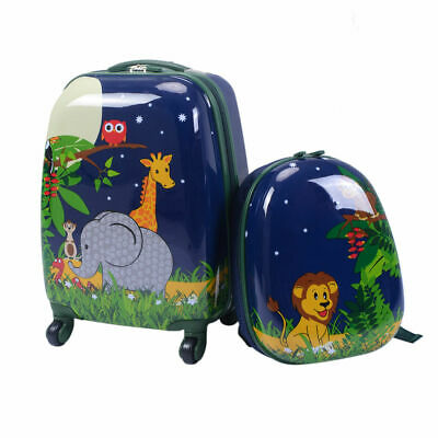 """2Pc 12"""" 16"""" Kids Luggage Set Suitcase Backpack School Travel Trolley Case ABS"""