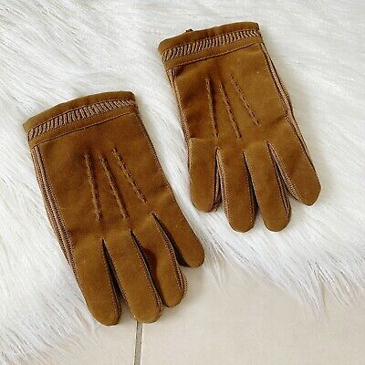 Vintage Olive Brown Soft Gloves | Size M | Faux Fleece Lined