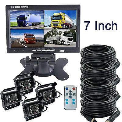"7"" HD Quad Split Car Rear View Monitor + 4x Truck CCD Backup Night Vision Camera"
