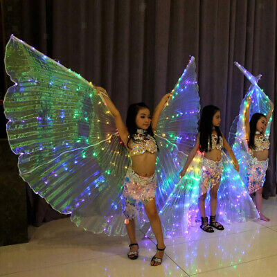3x Egypt LED Isis Wings Belly Dancing Dance Costume Light up Wing 360 Degree