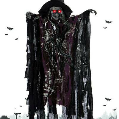 Halloween Decorations Ghost Skull Red Eyes Glowing Horror Hanging Props-Purple