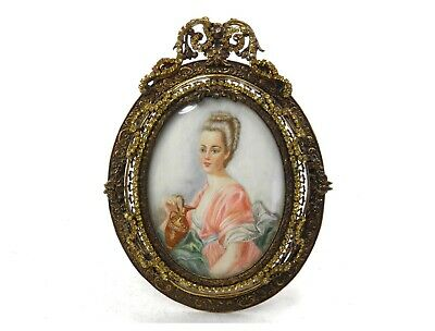 Antique Continental school portrait miniature painting of Marie Antoinette