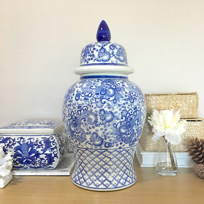 Blue & White Toile Temple Jar/Canister/Ginger Jar/Hampton's/Chinoiserie