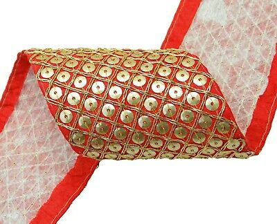 1 Yd Decorative Indian Fabric Trim Embroidered 8.8 Cm Wd Craft FT806D