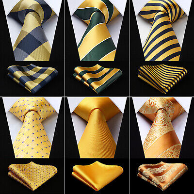 Men's Gold Yellow Paisley Check Silk Necktie Handkerchief Set  Party Wedding