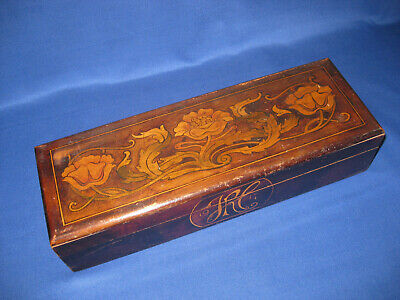 Beautiful Antique Art Nouveau Wood Glove Box
