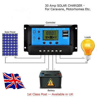 SOLAR PANEL CHARGE CONTROLLER 30 Amp - All Solar Projects - Available in UK