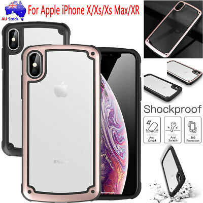 Heavy Duty Shockproof Hybrid Clear Back Case Cover For Apple iPhone X/Xs Max/XR