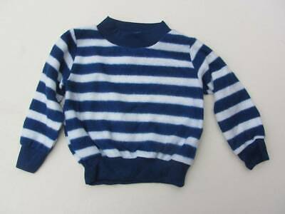 vintage Neew old stock 70's tops fleece blue white striped age 2 -3