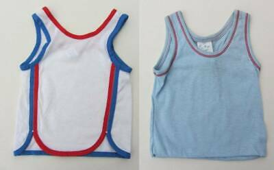 2 vintage New old stock 70's summer vest top blue red & white age 1 beach