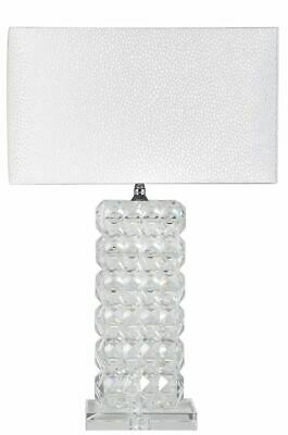 Medium Crystal Cut Glass Rectangle Lamp With White Shade