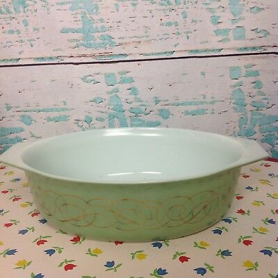 Vintage Pyrex Sage Scroll 045 Green Gold Oval Baker Large Casserole Dish Glass