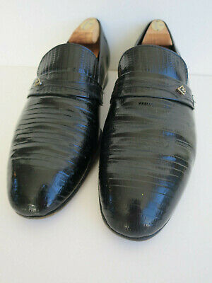 Vintage slip-on shoes black patent leather reptile Gucci-style 1980s 80s UK 9.5