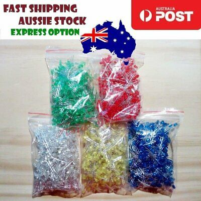 2000pcs 400each 3mm LEDs Blue White Green Yellow Red LED Light Emitting Diodes -