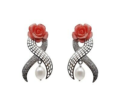 925 Solid Sterling Silver Labmade Coral Rose Flower Earring Pearl Drop Earring