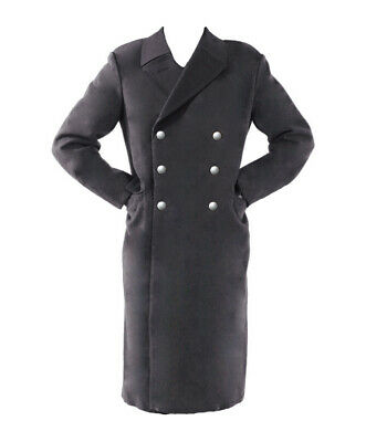 Mens German Army Trench Coat Long Grey Military Warm Lined WW2 Greatcoat NEW