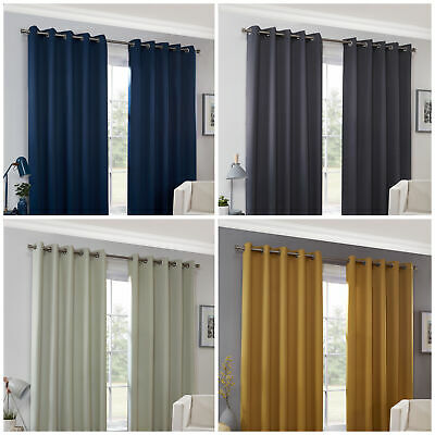 BLOCKOUT Interlined Curtains EYELET Ring Top Ready Made 4 COLOURS