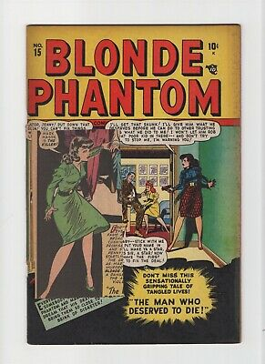 Blonde Phantom #15 VINTAGE Marvel Atlas Comic Casting Couch Cover Golden Age 10c