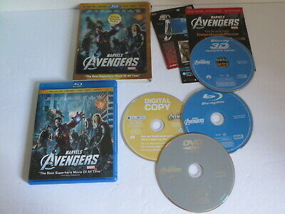 Marvel's The Avengers 4 Disc  Blu Ray Bluray 3D 3-D With Lenticular Slipcover