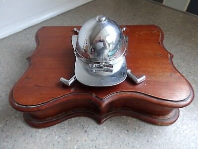 Antique/Vintage Jockey Inspired Chrome Ink Well & Mahogany Base with Draw