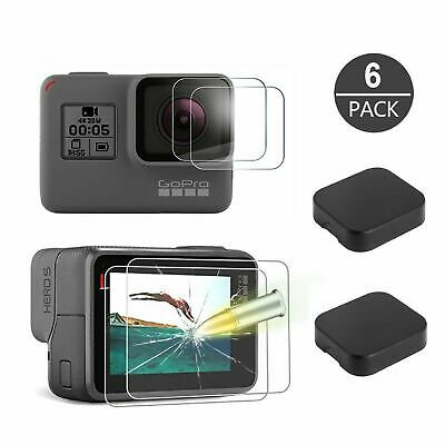 6X Tempered Glass Screen Protector & Lens Cap For GoPro Hero 7 6 5 Black