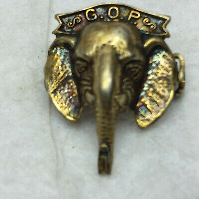 Vintage Republican Pin Sterling G.O.P. Elephant Head Ornate