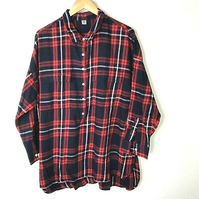 Old Navy Flannel Shirt 2X Womens Plus Plaid Red White Blue Button Hi Low Top