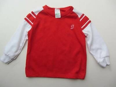 boys red white long sleeved T-shirt tops football 70's vintage New