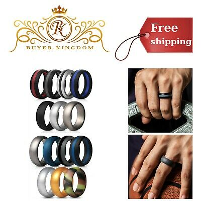Mens Fitness Silicone Ring Wedding Bands For Active Lifestyle 8.7mm 7 Pack Rings